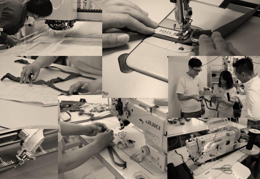 ハーネスが様々な工程を一つ一つ丁寧に製作される風景